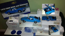 Franklin Mint 1970 Ford Mustang Boss 429 Blue Tag, COA Box 1:24 Rare FM Archives