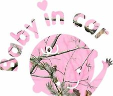 Pink Camo Baby in Car  Sticker  Decal