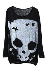 Black Long Sleeve Skull Print Loose Knitted Tee T-Shirt Sweater Jumper Top CT