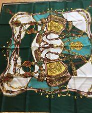 "Beautiful Vintage Silk Scarf EQUESTRIAN design 34""."
