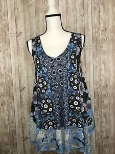 Desigual Ladies Sleeveless Floral Blouse Top NEW! XLarge XL Floral Geometric N80