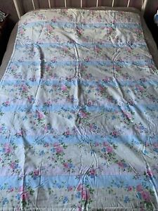 LAURA ASHLEY Throw Blanket Quilted Quilt English Rose Shabby Chic New Floral Fab