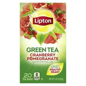 2 - Lipton Cranberry Pomegranate Green Tea 20 Count 8/2022 Lot of 2 Boxes NEW