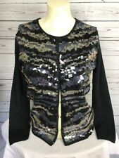 Michael Simon Black Ombre Sequin Cardigan Sz M Embellished Sweater Button Front