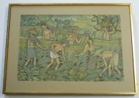 MD FOLK UBUD  PAINTING MASTERFUL FINEST BALI LANDSCAPE TROPICAL DETAILED 25 INCH