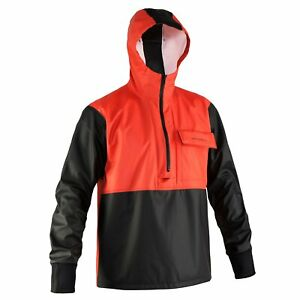 Orange Grundens Neptune 103 Anorak Pullover Jacket Commercial Fishing Rain Gear