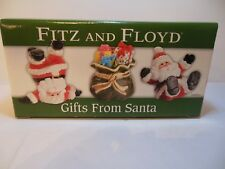 2005 Fitz And Floyd Gifts From Santa Set Of 3 Hand Painted Tumblers Nib