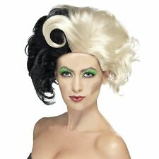 Deluxe Cruella De Ville Wig Evil Madame Zombie Ladies 101 Dalmatians Fancy Dress