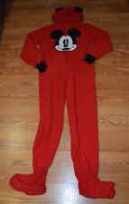 NEW Womens Disney Red Mickey Mouse Hooded Fleece Footie Pajamas S 3-5