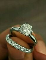 wedding engagement bridal ring set 1.75ct round cut diamond 14k white gold over