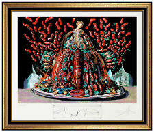 Salvador Dali Color Lithograph Hand Signed Lobster Diners De Gala Original Art
