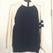 NWT Tommy Hilfiger BIg Boy 1/4 Zip up sweater / Boys size XL Blue and White
