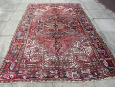 Vintage Worn Hand Made Traditional Oriental Wool Red Blue Carpet 280x197m