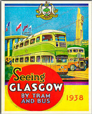 GLASGOW BY RAIL OR TRAM 1938 VINTAGE TRAVEL METAL SIGN  HOME DECOR  MANCAVE GIFT