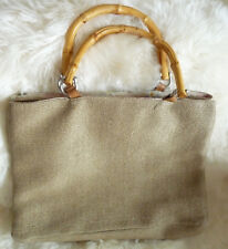 Fossil Large Jute Tote with Bamboo Handles