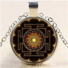 SRI YANTRA Glass Cabochon pendant necklace & silver plated chain HINDU BUDDHIST