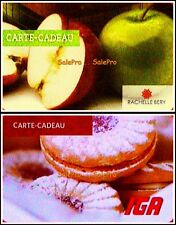 2x IGA FRESH APPLES & HOMEMADE STYLE COOKIES BILINGUAL COLLECTIBLE GIFT CARD LOT
