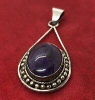 Vintage Sterling Silver Necklace 925 Pendant Charoite Southwest