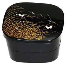 Japanese Jubako 2 Tier Box Black Butterfly and Rive Reed Design Lacquer Finish