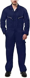 Kolossus Pro-Utility Cotton Blend Long Sleeve Coverall with, Navy Blue, Size  KD