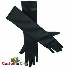 "Womens 19"" Black Satin Elbow Length Gloves 20s 30s Flapper Fancy Dress Accessory"