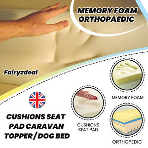 Cut To Size Memory Foam Orthopedic - Cushions Seat Pad Caravan Topper / Dog Bed