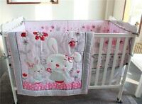 4pcs Baby Girl Pink Bedding Set Rabbits Crib Nursery Quilt Bumper Sheet Crib