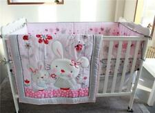 4pcs Baby Girl Bedding Rabbits Sets Crib Nursery Quilt Bumper Sheet Crib Skirt