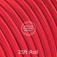 Red Round Cloth Covered Electrical Wire - Braided Rayon Fabric Wire - 25ft