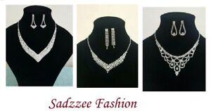 Women Fashion Lovely Crystal & Diamonte Necklace Set Wedding,Party UK Seller
