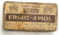 RARE EMPTY MEDICINE TIN Premo Pharma.Ergot-Apiol  INDUCED ABORTION IN 1900'S