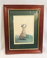 Vintage D Nichols Woman Golfer Golf Watercolor Print Wood Framed Double Matted