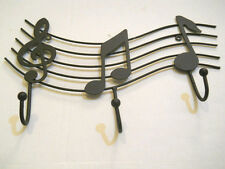 Music Notes Black Metal Wall Hanging With 3 Hooks Treble Clef Wavy Music Staff