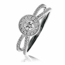 Diamonds Vintage Styled Solitaire Ring 0.65cts SI1 Colour G 18 Carat White Gold