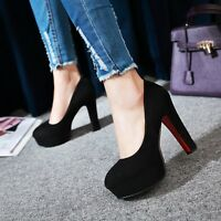Womens Fashion Faux Suede Platform High Heel Pumps Court Shoes UK Size 1--8 C301