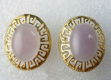 Real Pink Jade Yellow Gold Plated Chinese Classical Style Pattern Stud Earrings