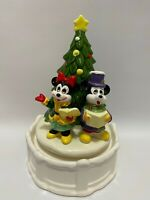 Vintage Walt Disney Mickey Minnie Mouse Christmas Tree Music Box Ceramic Japan