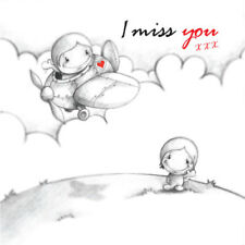 """""""I Miss You"""" Cupids Card  fly away, travel, leave, separate"""