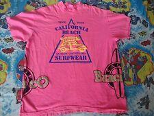VINTAGE California Beach Co Brand Surf Wear Skateboard 80's puff print T Shirt L