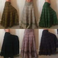 Long gypsy hippy boho lace trim skirt