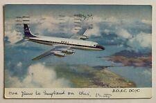 1962 Postcard Boac Douglas Dc-7C Jetliner airplane British Overseas Airways Corp