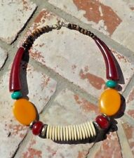 AMBER RESIN TURQUOISE  NECKLACE TRIBAL BELLY DANCE BOHO NEPAL FREE SHIPPING