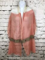 "Salem's Ethiopia Scarf Cotton Semi Sheer Peach Pink with Fringe 18x 81"""