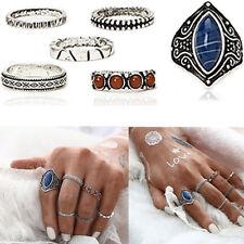 6pcs/Set Midi Ring Boho Beach Vintage Tibetan Silver Rings Women Jewelry Gift E7