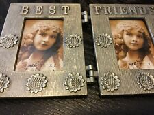 Pewter colour embellished Best Friends double photo frame Opened never used