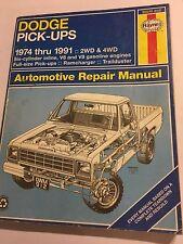 DODGE PICK-UPS 2WD 4WD 6-Cyl In-Line +V6 V8 HAYNES MANUAL RAMCHARGER + 1974-1991