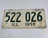 1950 Illinois IL License Plate 522 026 ILL White & Green Vintage/Antique