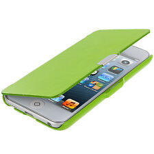 For iPod Touch 5th Gen 5G 5 Wallet Leather Hard Cover Case Pouch Neon Green
