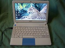 Blue Acer Aspire One HAPPY2  Netbook Intel Atom N450  2GB RAM 250GB HDD Win 7