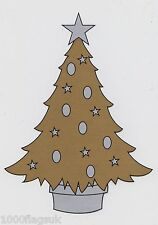 Christmas Cling On Vinyl Car Window Sticker - Gold Christmas Tree cc17